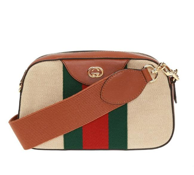Item - With Grg Web and Gold Gg 575073 525040 Beige Canvas Cross Body Bag