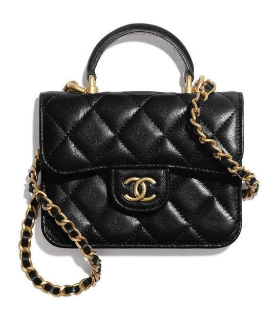 Item - Vanity Case Crossbody 21a Mini Flap Coin Purse with Chain Gold Handle Black Lambskin Leather Shoulder Bag
