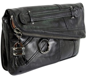 Derek Lam Leather Envelope Zipper Front Flap Gunmetal Black Clutch