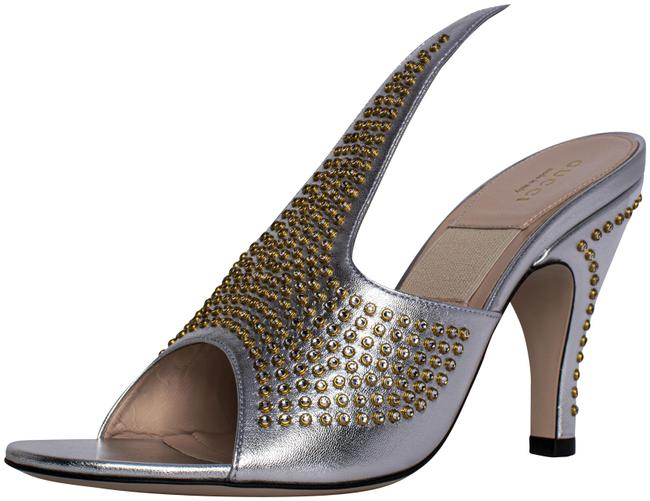 Item - Silver Exaggerated-point Crystal Suede 37.5 Mules/Slides Size US 7.5 Regular (M, B)