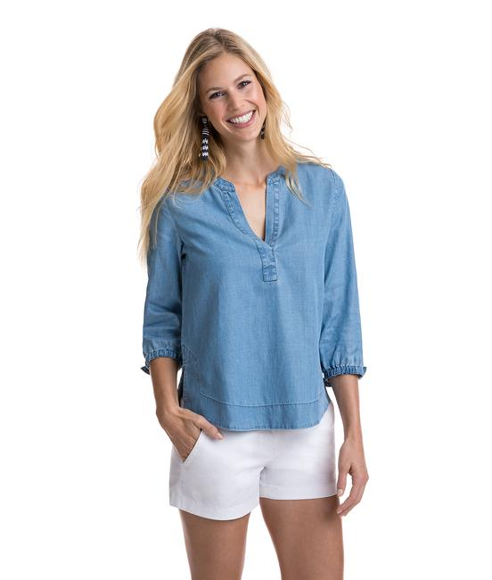 Item - Chambray Sleeve Popover Blouse Size 4 (S)