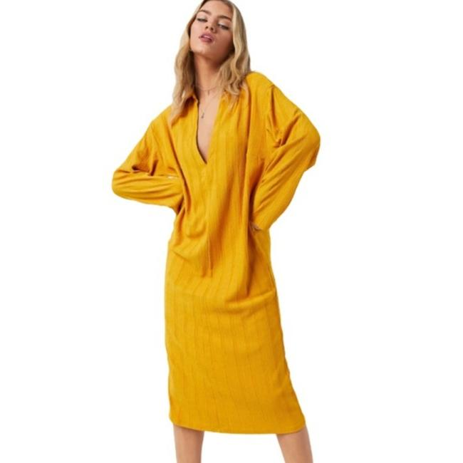 Item - Gold Yellow Aster Collar Ribbed Midi Mid-length Casual Maxi Dress Size 8 (M)