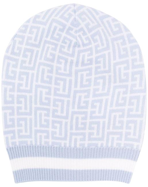Item - Pale Blue and White Wool Beanie with Monogram Hat