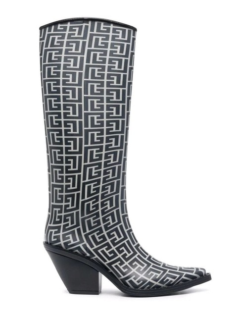 Item - Black/Ivory Tess Rubber with Monogram Boots/Booties Size EU 40 (Approx. US 10) Regular (M, B)