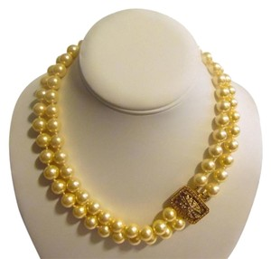 """Pearlfection Pearlfection 2 Strand Faux Golden South Sea Pearl Necklace 18"""""""
