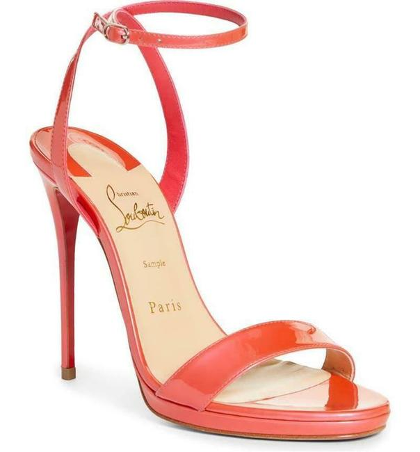 Item - Florida Coral Pink Loubi Queen 120 Patent Leather Ankle Strap Sandals Size EU 39.5 (Approx. US 9.5) Regular (M, B)