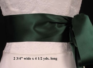 Hunter Green Ribbon Sash 2 3/4