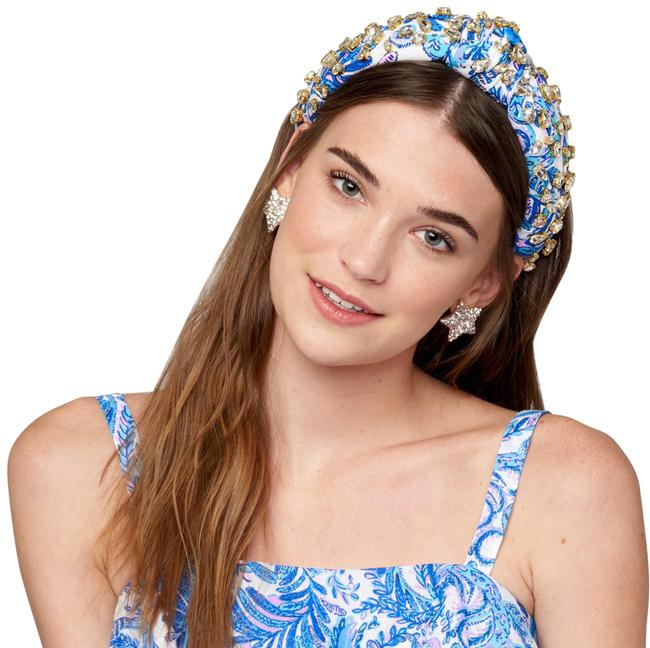 Item - Blue Lilly Pulitzer Bird Is The Word Crystal Knot Headband Hair Accessory