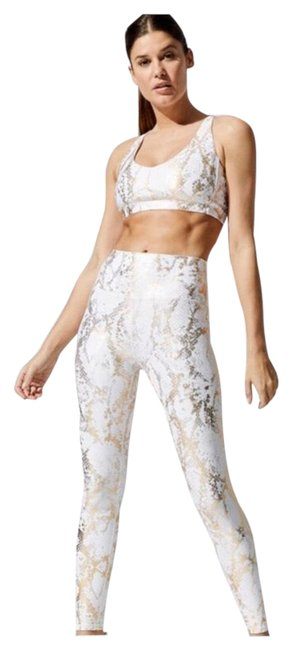 Item - White and Gold Python Print Activewear Sportswear Size 8 (M)