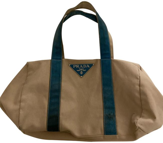 Item - Bag Sports Natural and Turquoise Blue Cotton Tote
