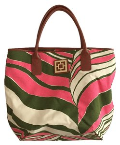 Trina Turk Tote in Pink, Forest Green, White