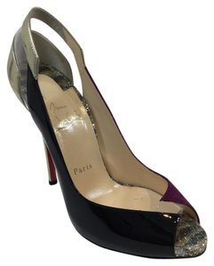 Christian Louboutin 120 Mm Black Patent Velvet Multicolor Platforms
