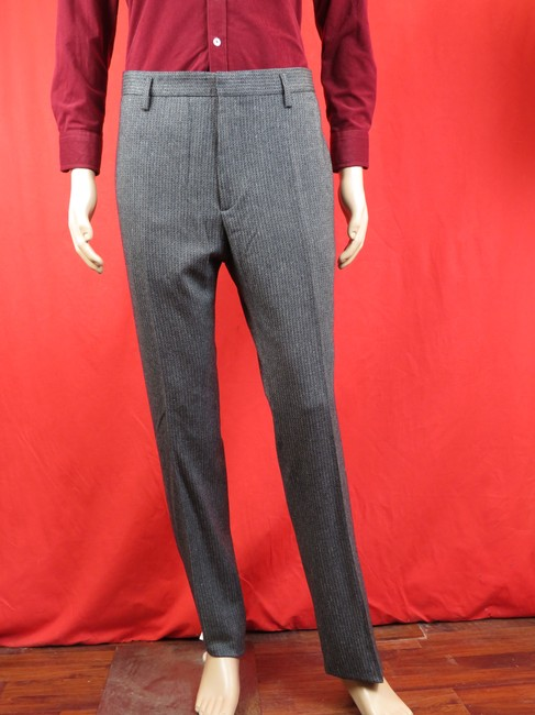 Item - Gray W Textured Striped Wool Classic Fit 244181 Trouser Pants 50 36 Groomsman Gift