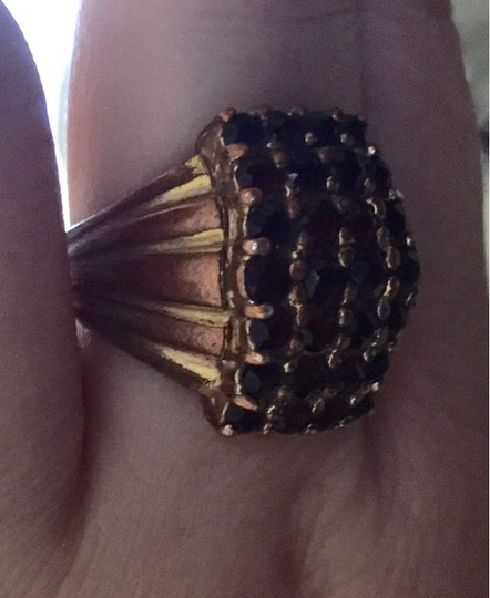 Estate Jewelry Vintage Garnet Cocktail Ring-Gold Plated Over Copper-Great Statement Piece!!!!