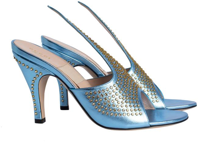 Item - Blue Silver Exaggerated-point Crystal Suede Sandals Pumps Size US 9 Regular (M, B)