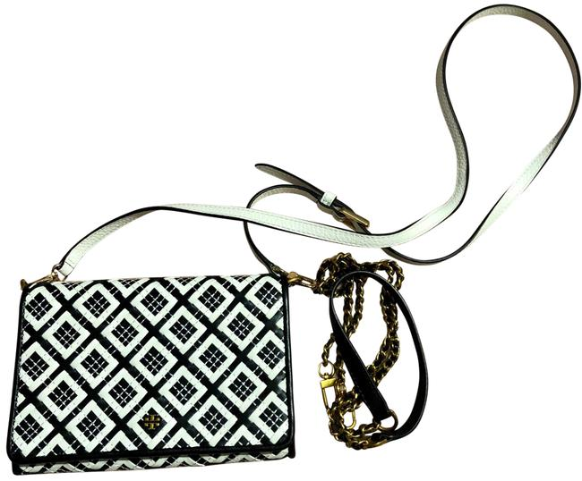 Item - Robinson Woven-leather Chain Wallet Black/Ivory Leather Cross Body Bag
