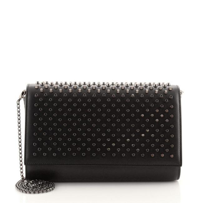 Item - Clutch Paloma Spiked Black Leather Metal Cross Body Bag