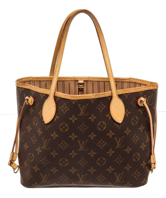 Item - Neverfull Bag Pm Brown Coated Canvas Tote