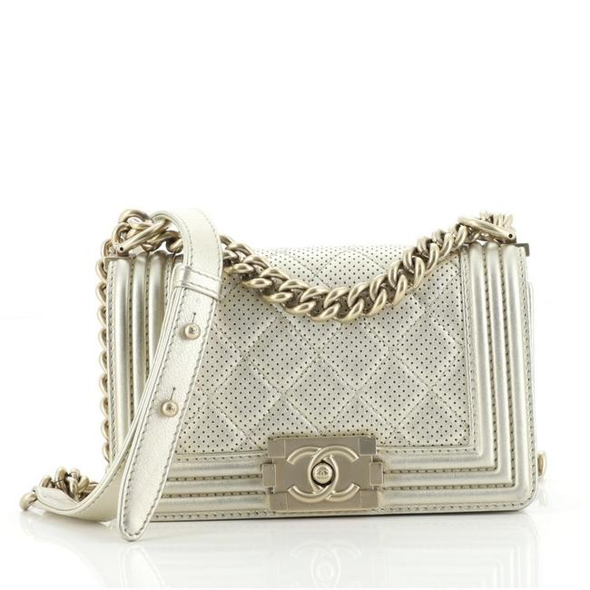 Item - Classic Flap Boy Quilted Perforated Calfskin Small Gold Metallic Leather Cross Body Bag