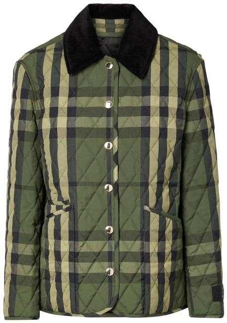 Item - Army Green Corduroy-trimmed Quilted Checked Woven Jacket Size 4 (S)