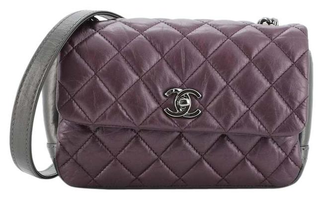 Item - Classic Flap Lady Pearly Quilted Calfskin Mini Gray Purple Leather Cross Body Bag