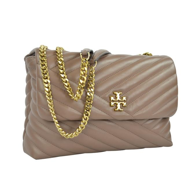 Item - Flap Kira Chevron with Chain Taupe Leather Cross Body Bag