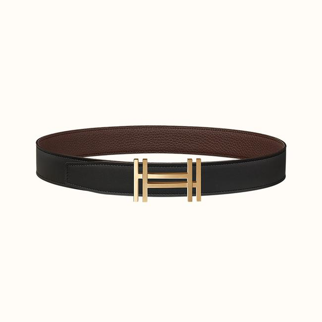 Item - Black/Chocolate H Au Carre Permabrass Buckle &reversible Leather Strap Or4170 Belt