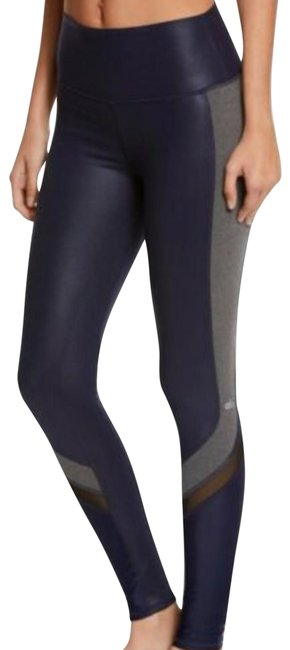 Item - Blue Yoga Elevate Mesh Glossy Navy Grey High Waist Activewear Bottoms Size 4 (S, 27)