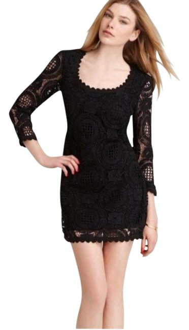 Item - Black Bodycon Laced Long Sleeve Party Sexy Short Cocktail Dress Size 0 (XS)