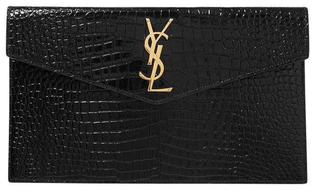 Item - Ysl Uptown Pouch In Crocodile Embossed Shiny Black Leather Clutch