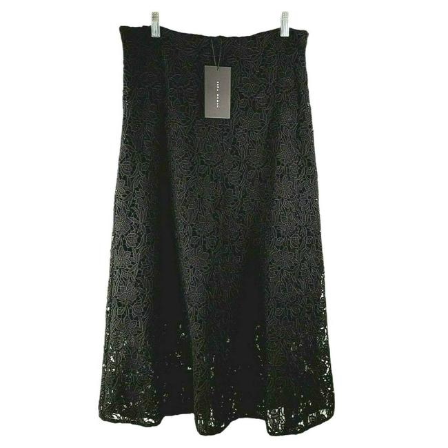 Item - Black Floral Open Embroidered Heavy Lace Zip Lined Skirt Size 12 (L, 32, 33)