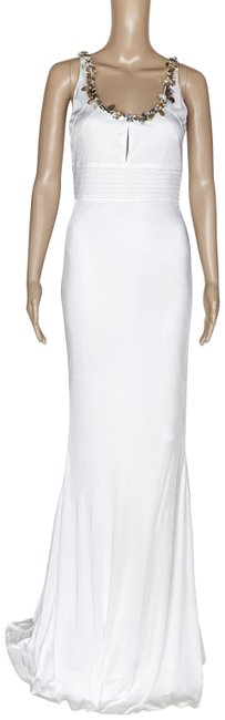 Item - White New Crystal Embellished Gown 42 - Long Formal Dress Size 6 (S)