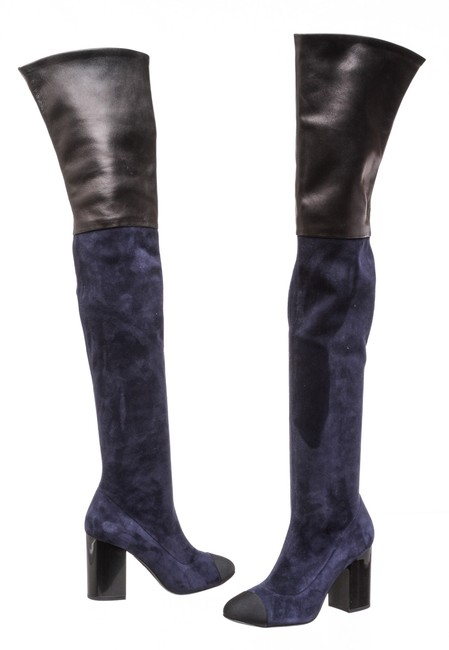 Item - Navy Blue 505112 Suede and Leather Over The Knee Boots/Booties Size EU 38 (Approx. US 8) Regular (M, B)
