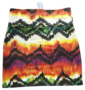Wet Seal Bodycon Mini Print Mini Skirt Tribal Multicolor