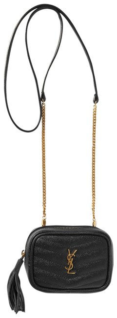 Item - Monogram Loulou Lou Ysl In Quilted Grain De Poudre Embossed Black Leather Cross Body Bag