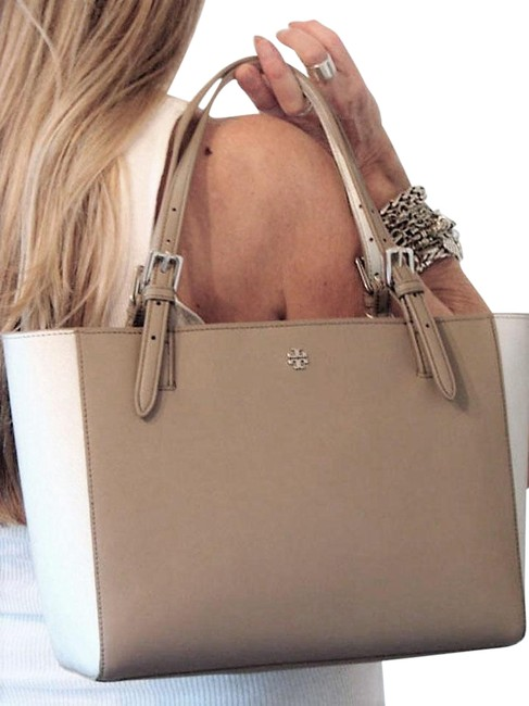 Item - York Buckle Color Block French Gray/Silver Saffiano Leather Tote