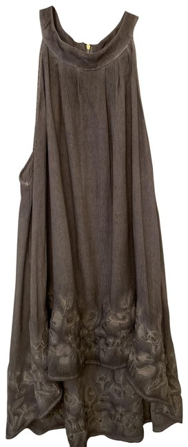 Item - Sleeveless Tiered Shirt. Grey with Cream Embroidered Bottom Edge Top
