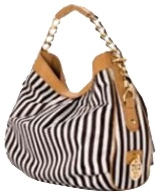 Item - Brown White and Nude Fabric Hobo Bag