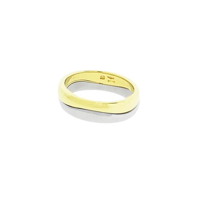 Item - 2 Tone Gold Trinity 18k Rose & White Stackable Band Ring