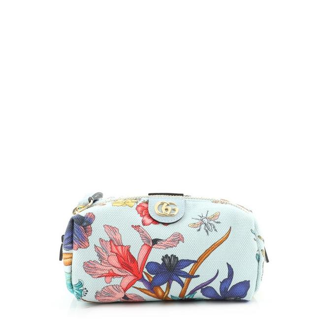Item - Blue Print Pouch Ophidia Flora Canvas Small Cosmetic Bag