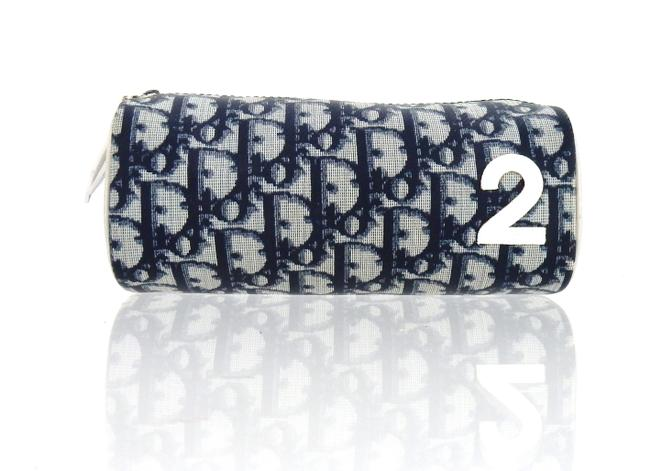 Item - Navy Blue and White Toiletry Trotter Monogram Canvas Leather Travel Cosmetic Bag