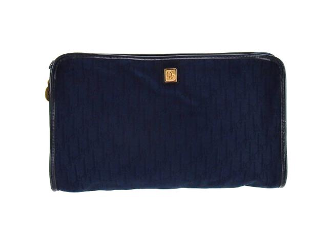 Item - Navy Blue Clutch Trotter Monogram Canvas and Leather Travel Toiletry Cosmetic Bag