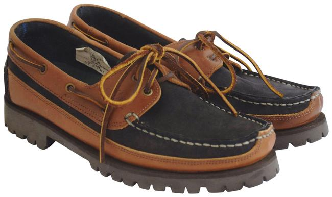 Item - Brown Deck Two-tone Leather Gray Italy Lace-up Flats Size US 9.5 Regular (M, B)
