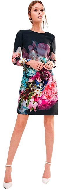 Item - Multi with Tag Women's Blue Vyr Tunic In Focus Bouquet Print Short Cocktail Dress Size 2 (XS)