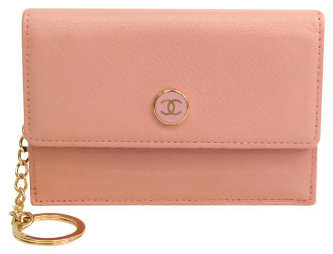 Item - Light Pink Coco Button A20908 Leather Card Wallet