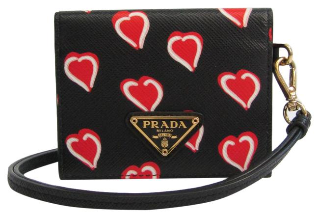 Item - Black / Red Color / White Heart Pattern Leather Card Case Wallet