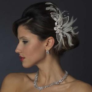 Elegance By Carbonneau Feather And Rhinestone Wedding Hair Clip
