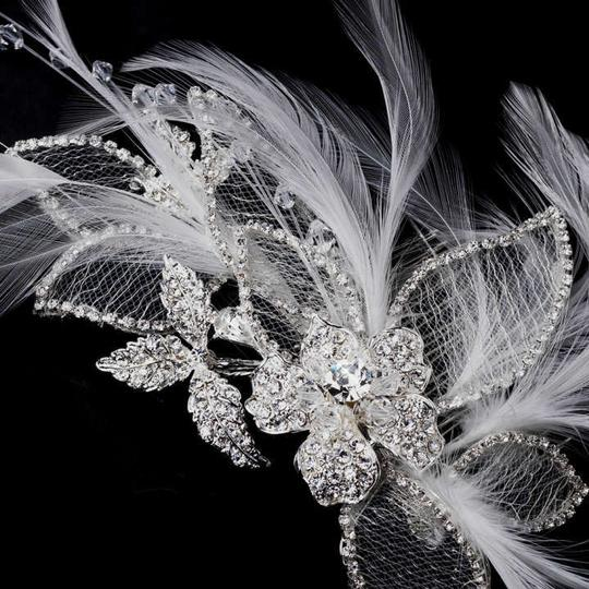 Elegance by Carbonneau Silver Feather and Rhinestone Clip Hair Accessory