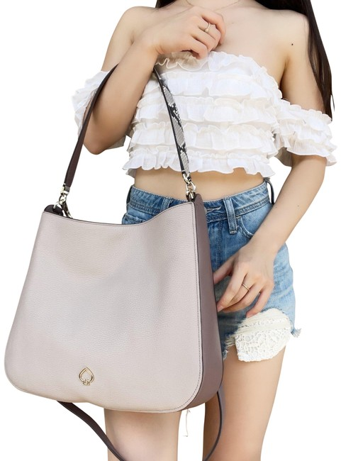 Item - Kailee Toss Medium Double Compartment Neutral Multi Pebbled Leather Shoulder Bag