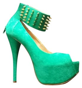Luichiny Spike Suede Green/Gold Pumps
